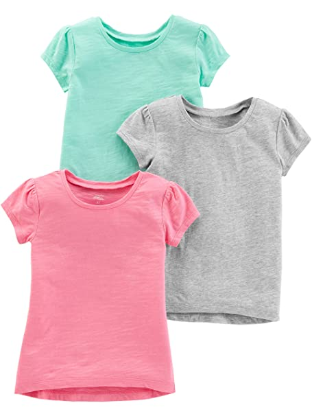 713032be120d8 Simple Joys by Carter's Girls' Toddler 3-Pack Solid Short-Sleeve Tee Shirts