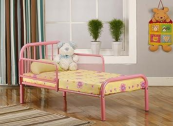 kings brand pink finish metal toddler bed frame with rails - Metal Toddler Bed Frame