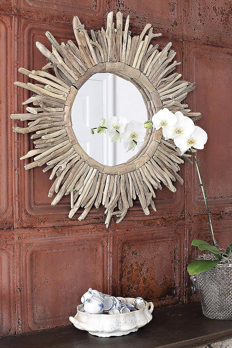 Creative Co-op DA2487 Driftwood Sunburst Mirror