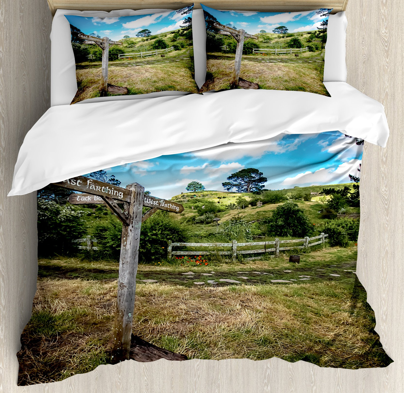 Hobbits Duvet Cover Set by Ambesonne, Rustic Wooden Sign in Hobbit Land East West Movie Set New Zealand The Shire, 3 Piece Bedding Set with Pillow Shams, Queen / Full, Green Brown