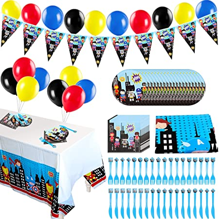 Pantide 123 Pack Superhero Party Supplies Kit For 20 Guests Superhero Themed Party Decorations Party Favors Banner Balloons Tableware Set For Kids Birthday Party Baby Shower Christmas Party Packs Amazon Canada