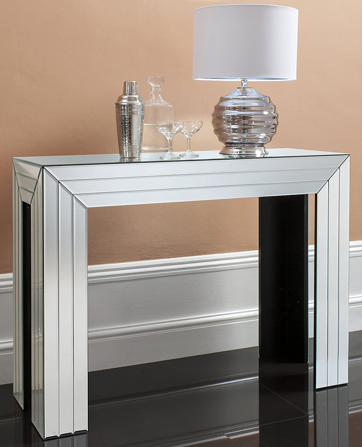 hallway table and mirror corona venetian bevelled mirrored furniture glass console hall table 100cm wide - Mirror Furniture