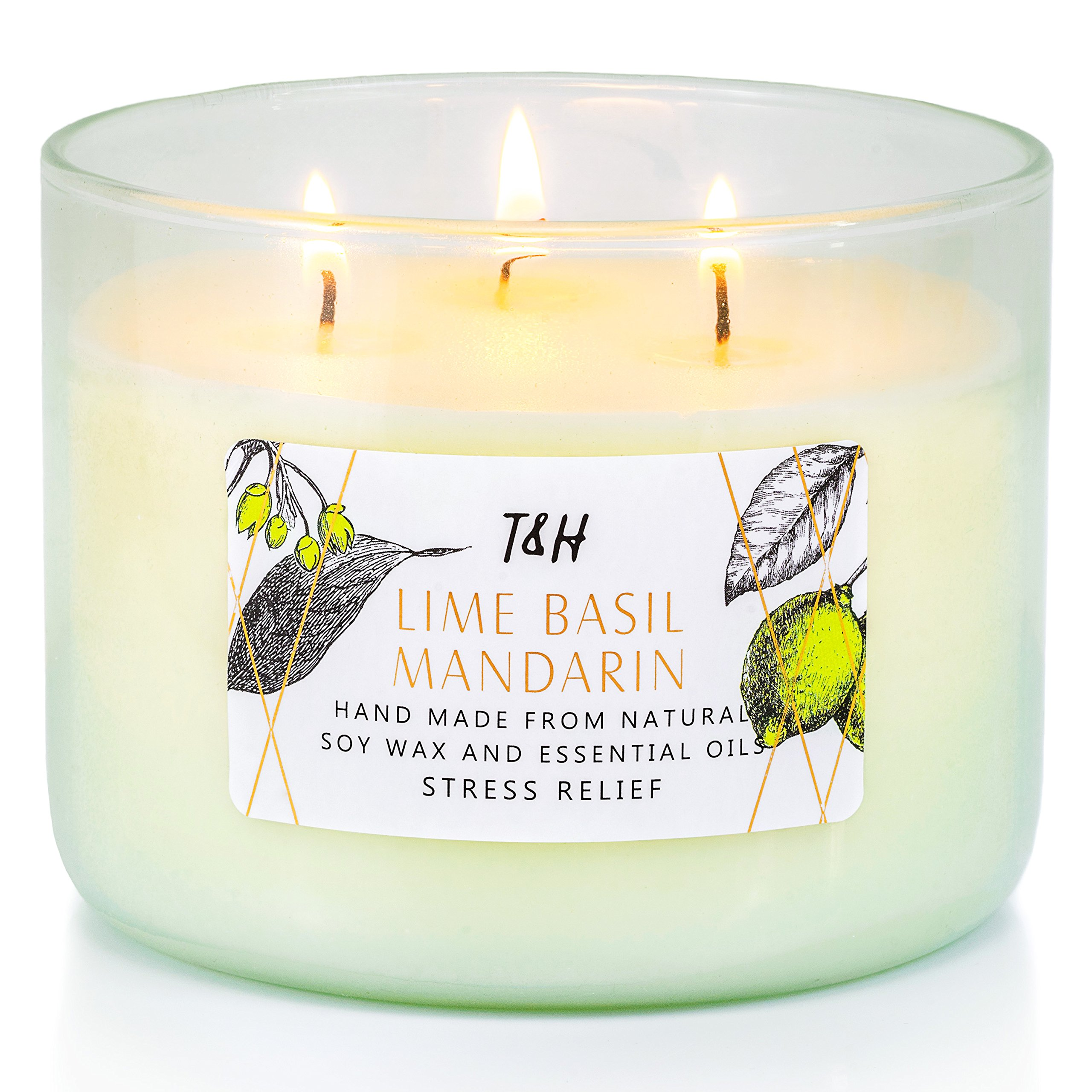T & H Aromatherapy Stress Relief 3-Wick Natural Soy Wax Lime Basil Mandarin Candle