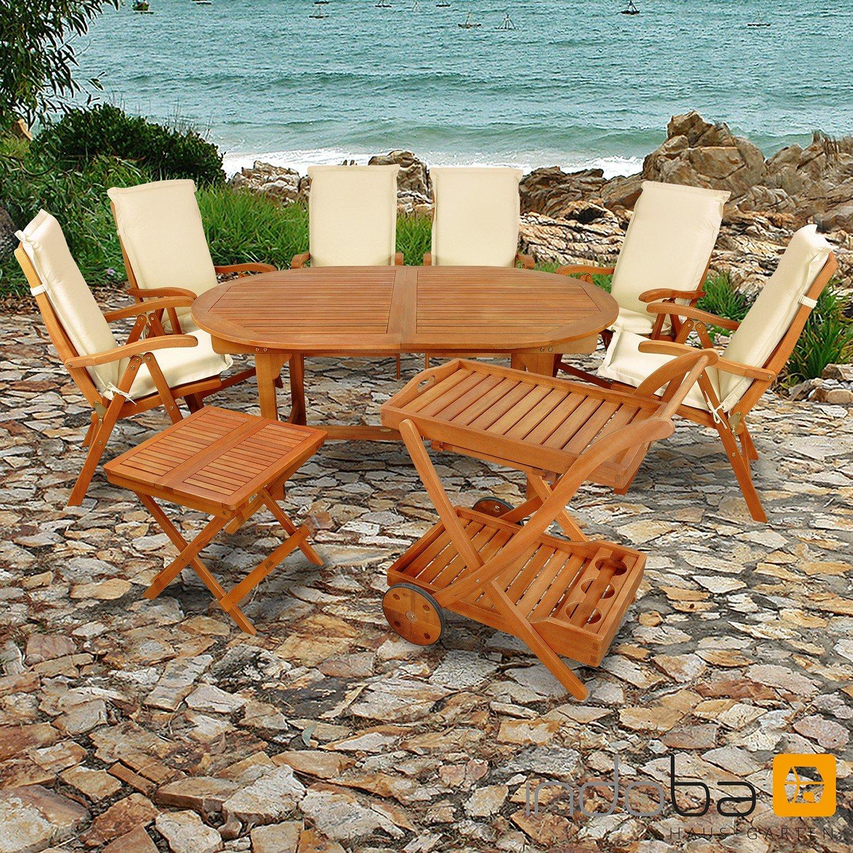 indoba® IND-70066-SFSE9BTSW + IND-70452-AUHL - Serie Sun Flair - Gartenmöbel Set 15-teilig aus Holz FSC zertifiziert - 6 klappbare Gartenstühle + 1 ausziehbarer Gartentisch + 1 Beistelltisch + 1 Servierwagen + 6 Premium Sitzauflagen beige
