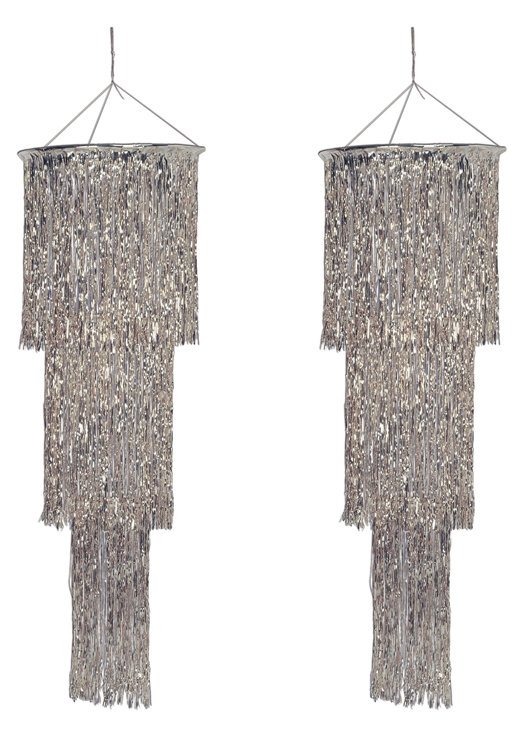 Beistle S57510-SAZ2 Shimmering Chandelier Awards Night Decorations, New Year's Eve Party Supplies, 4', Silver by Beistle
