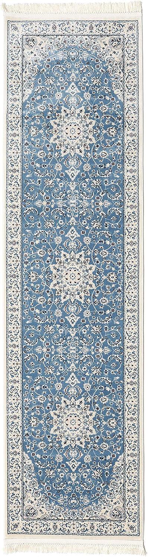 CarpetVista Nain Emilia - hellblau Teppich 80x300 Orientteppich, Läufer
