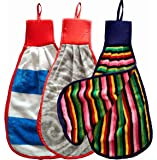Shop By Room 100% Cotton Double Sided Wash Basin Hand Towel - Multicolor - Pack of 3