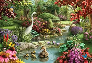Bird in Garden 1000 Pieces Puzzles for Adults Landscape Jigsaw Puzzle Artwork Style Gift DIY Mural Painting Entertainment Intellective Educational Toy Ideas for Relaxation Meditation Hobby