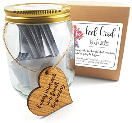 35 Beautiful Thoughtful & Inspiring Quotes about LOVE, FRIENDSHIP, SUCCESS  & HAPPINESS presented in a premium glass jar & giftbox BONUS Wooden Heart
