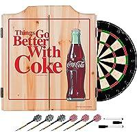 Trademark Gameroom COKE7010-BWC Cabinet Set with Darts & Board, Better Coke Coca Cola Dart