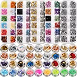 5 Box 11440pcs Nails Rhinestones and 36 Pots Foils Flakes, Teenitor Professional Nail Decoration with Gems for Nails…