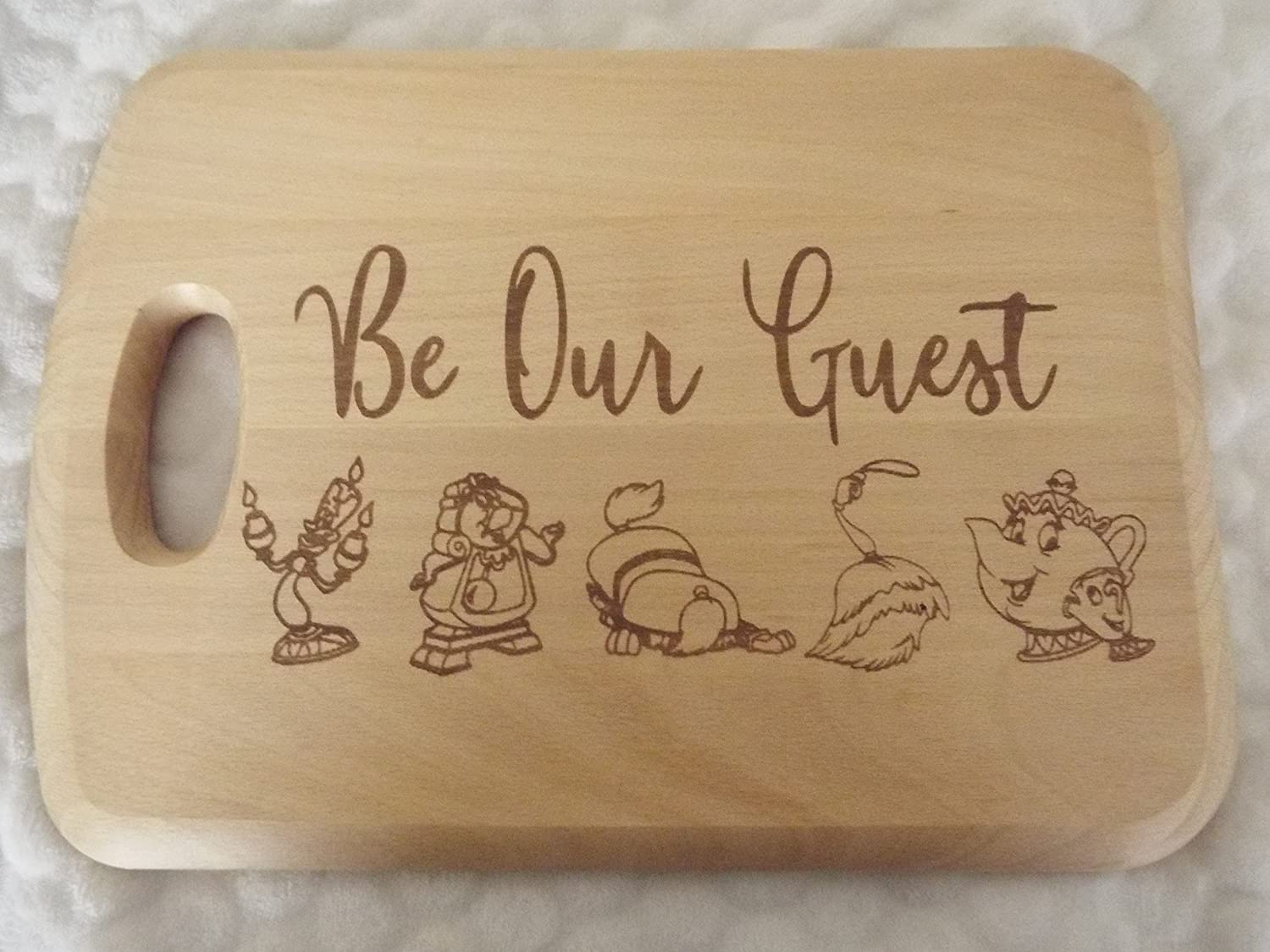 Be our guest wooden chopping/cutting/cheese board beauty and the beast gift LBS4ALL