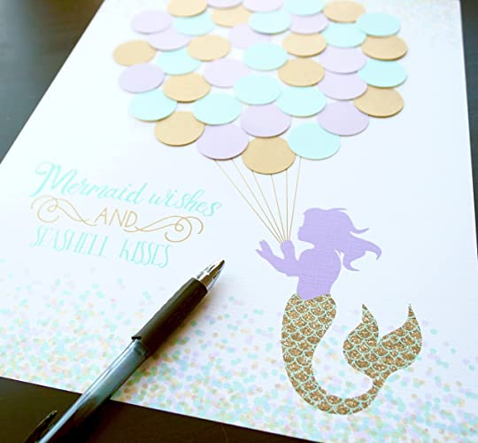 mermaid baby shower guest sign in aqua lavender and