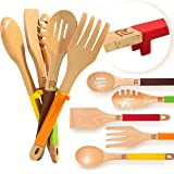 Riveira Wooden Cooking Utensils Set 5-Piece Wooden Spoons for Cooking Spatula Wood Slotted Spoon Serving Utensil Fork Nonstick Kitchen Utensils with Silicone Handles for Everyday Use