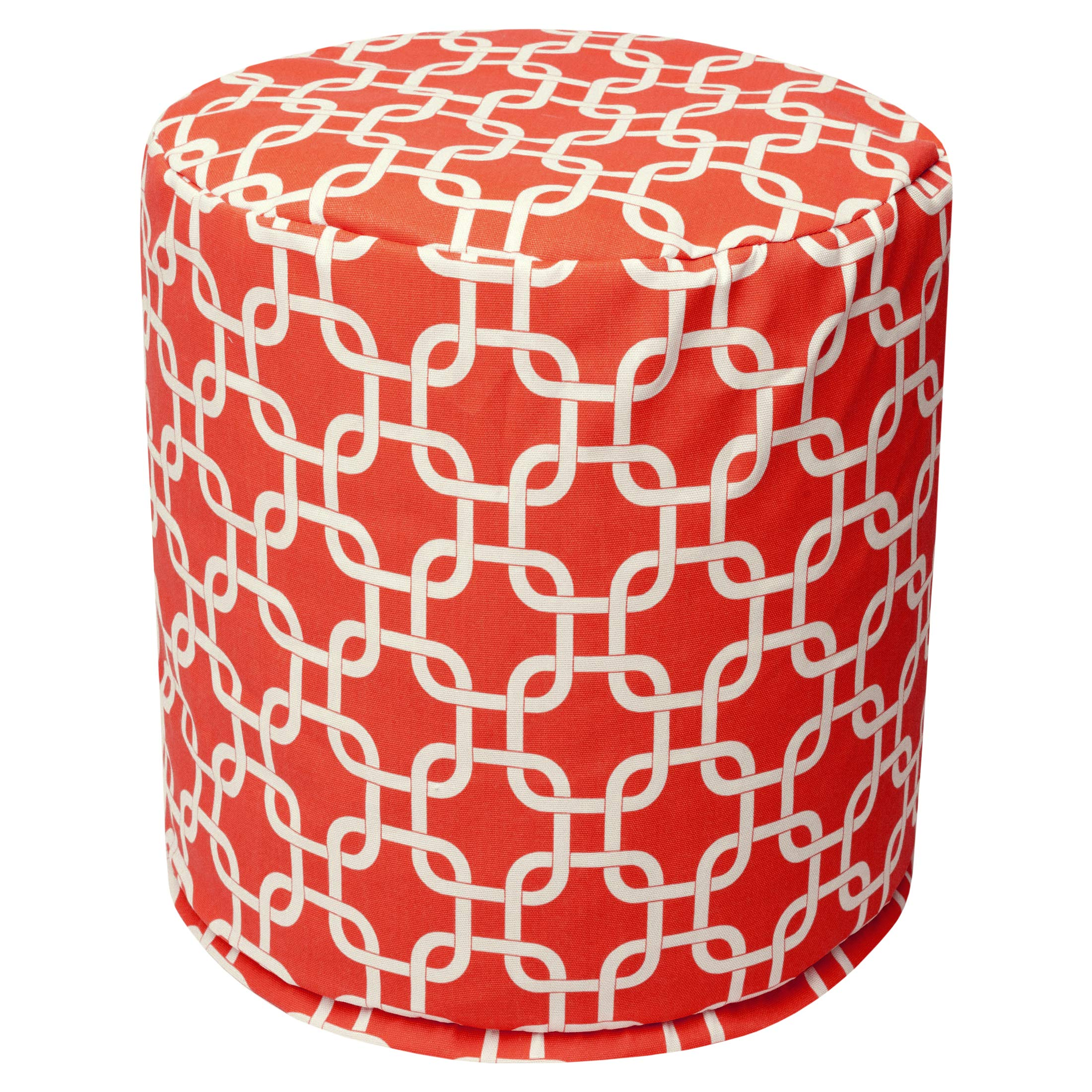 Majestic Home Goods Red Links Indoor/Outdoor Bean Bag Ottoman Pouf 16'' L x 16'' W x 17'' H