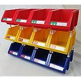 連結パーツボックス (大) ×12コ 【三方良し】 三色混合セット(ブルー/イエロー/レッド各4コ) 名札付