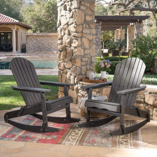 Christopher Knight Home 304056 Estelle Outdoor Dark Grey Finish Acacia Wood Adirondack Rocking Chairs Set of 2