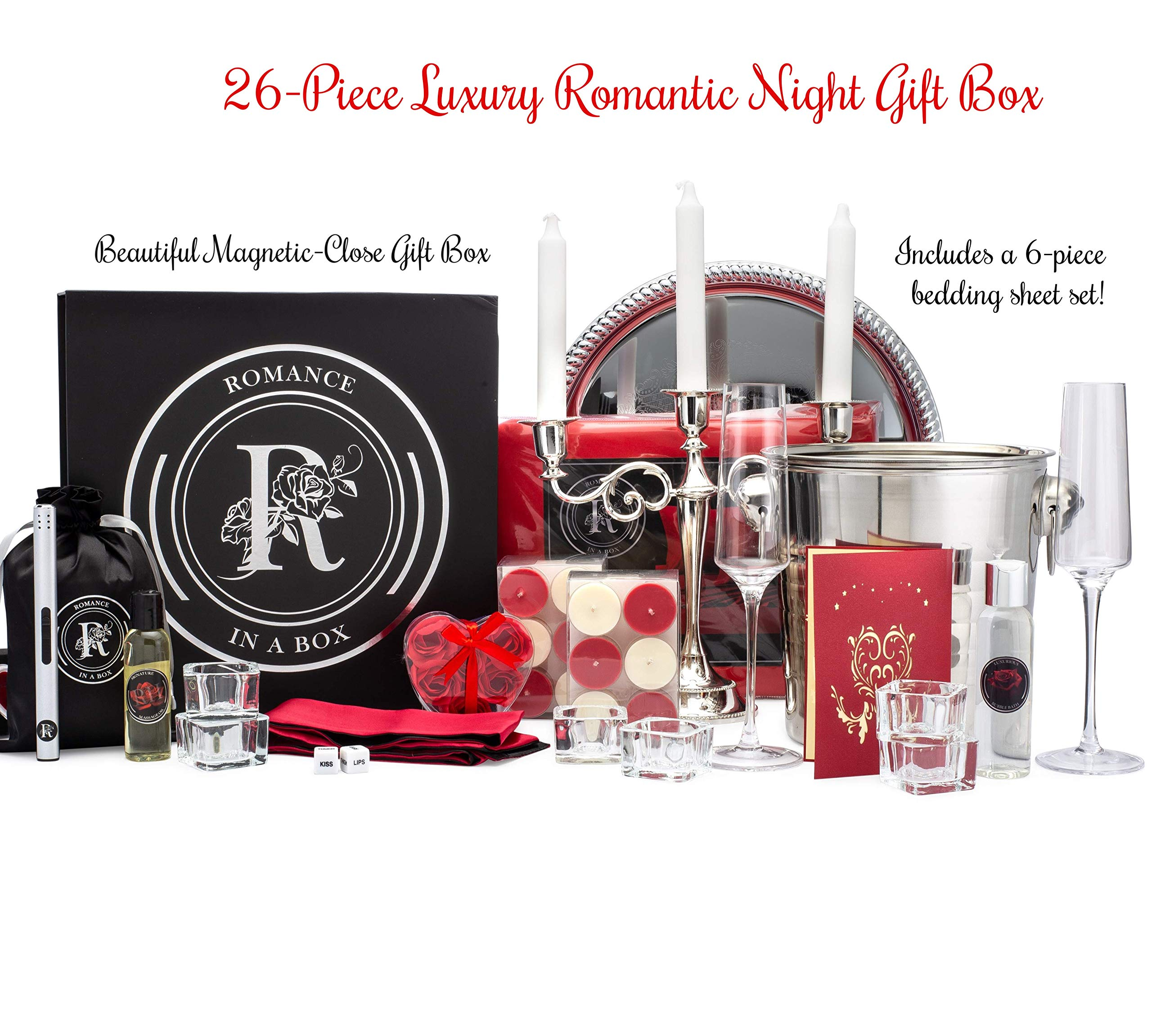 Luxury King Romance-in-a-Box | Romantic Gifts for Her | Anniversary Proposal Decorations | Romance Kit with Romantic Card Romantic Candles and Rose Petals