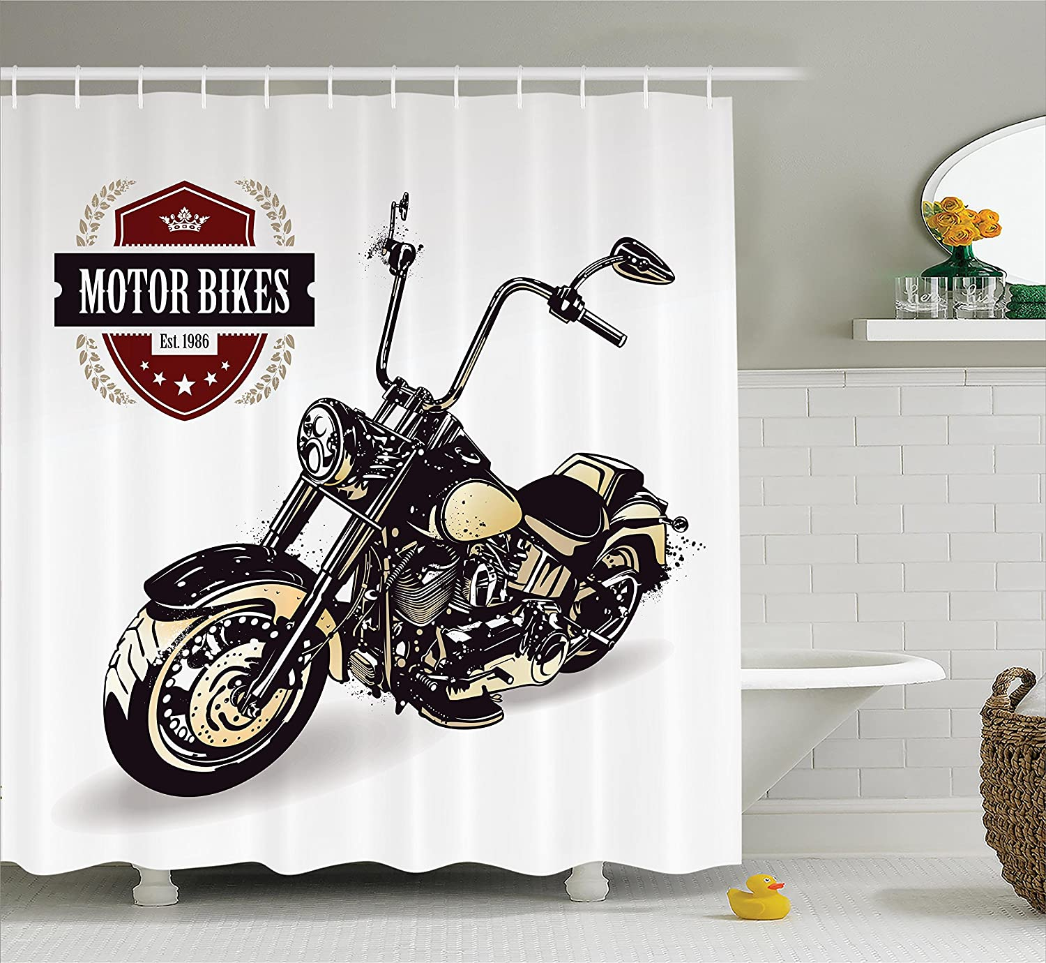 Amazon.com: Ambesonne Motorcycle Decor Shower Curtain Set, Chopper ...