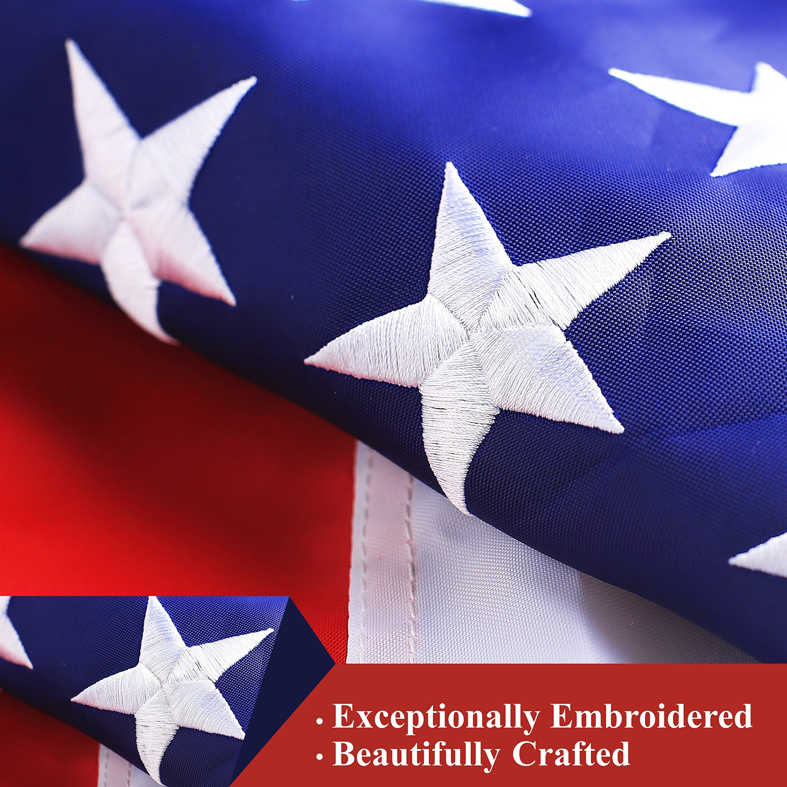 G128 - American USA US Flag 4x6 ft Deluxe Embroidered Stars Sewn Stripes Brass Grommets