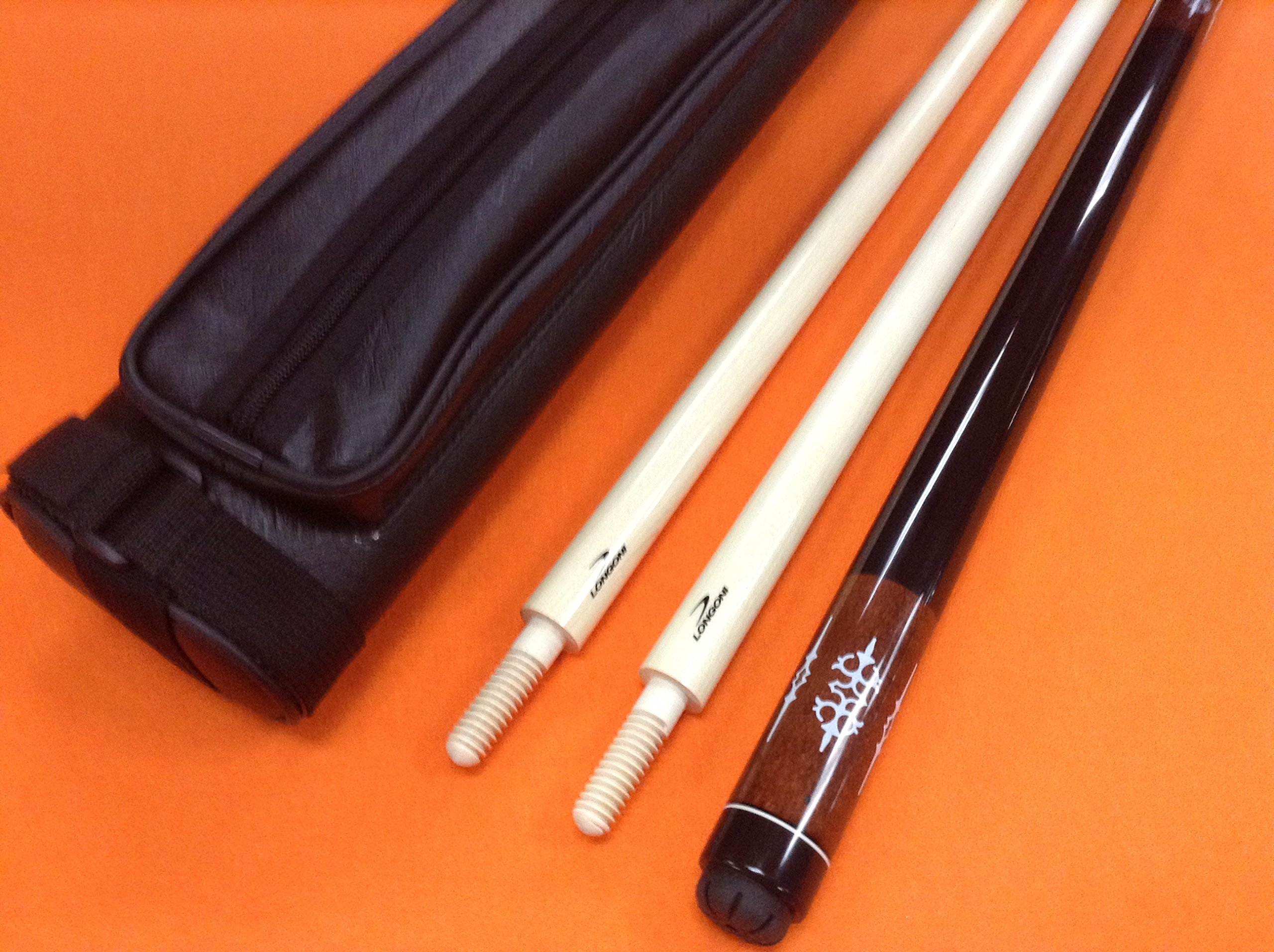 LONGONI CAROM CUE BROWN WITH 2 SHAFTS & CASE