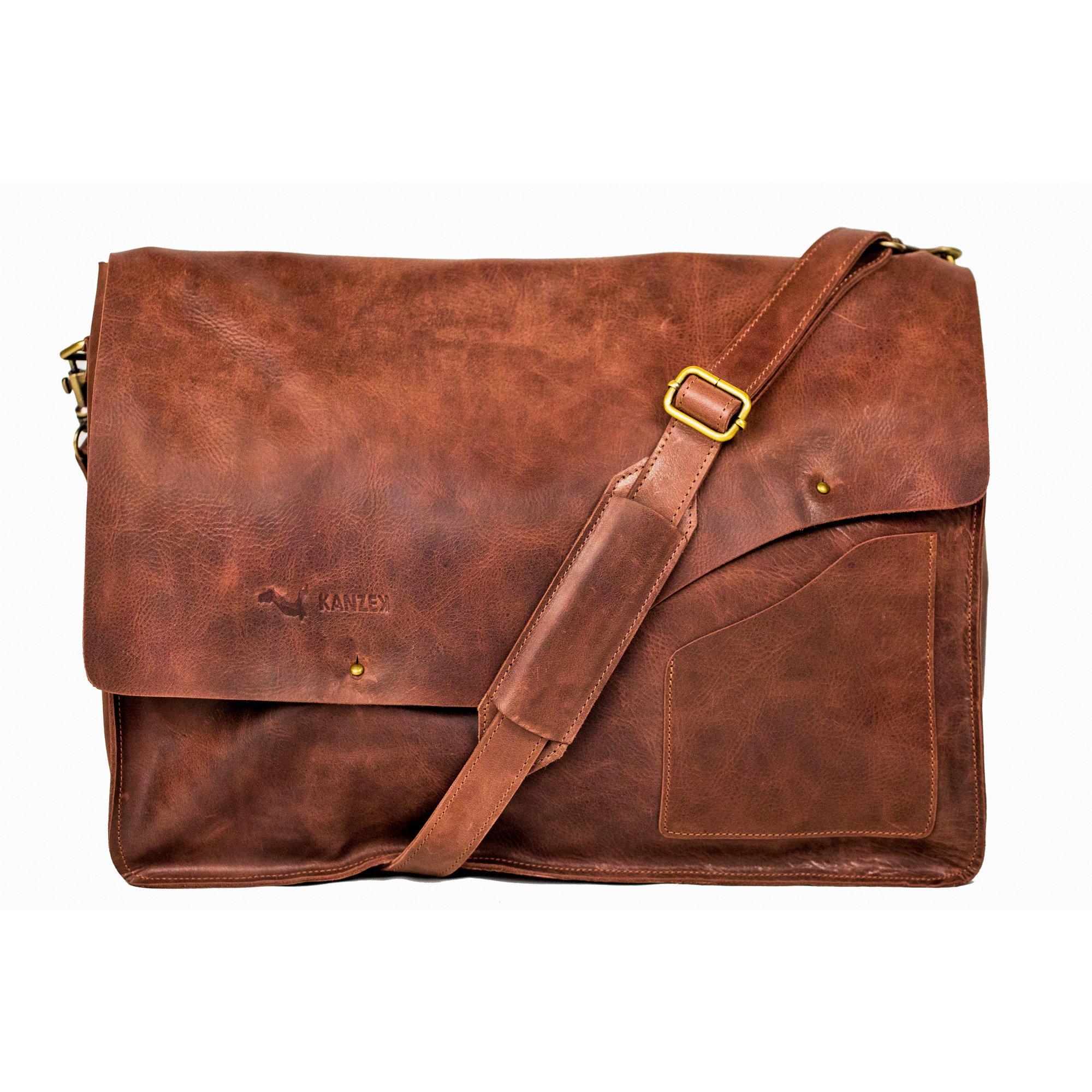 KANZEK 18'' Laptops Full Grain Cowhide Leather Messenger Bag / Executive Shoulder Satchel Briefcase. Distressed Vintage Brown, Large and Light for Men & Women by KANZEK