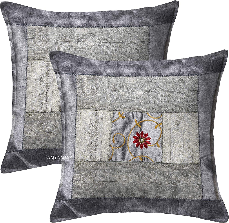 per divano leggere disponibili in 14 colori Blue ricamate a mano 2 federe per cuscini decorativi in seta indiana ANJANIYA