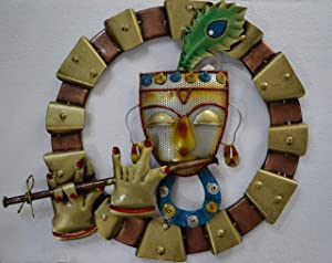 Collectible India Metal Lord Krishna Wall Mounted & Hanging Art Decor Playing Flute Krishan Sculpture for Home Living Room Bedroom(Size 21 x 19 Inches)