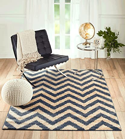 Summit S79 Venice Chevron Blue Beige Distressed Vintage Retro Style Area Rug  Modern Abstract Rug Many