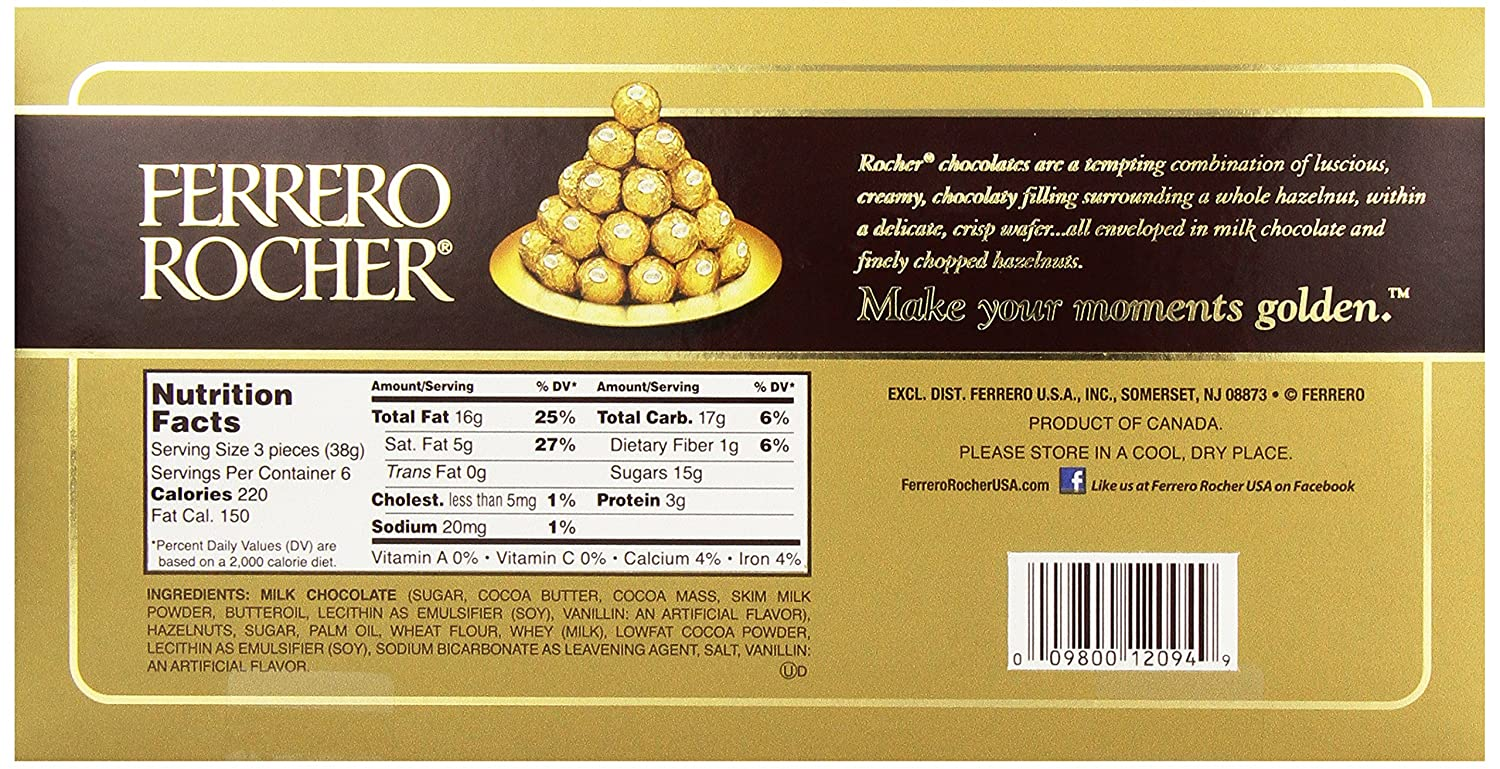 Amazon.com : Ferrero Rocher Gift Box, 18 Count : Grocery & Gourmet ...
