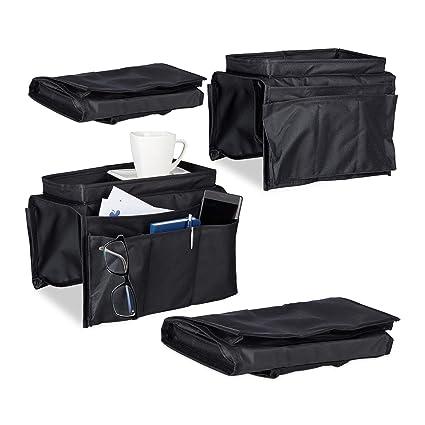 4x Armlehnen Organizer Sofa Butler Couch Organizer Sofatablett 6 Fächer schwarz