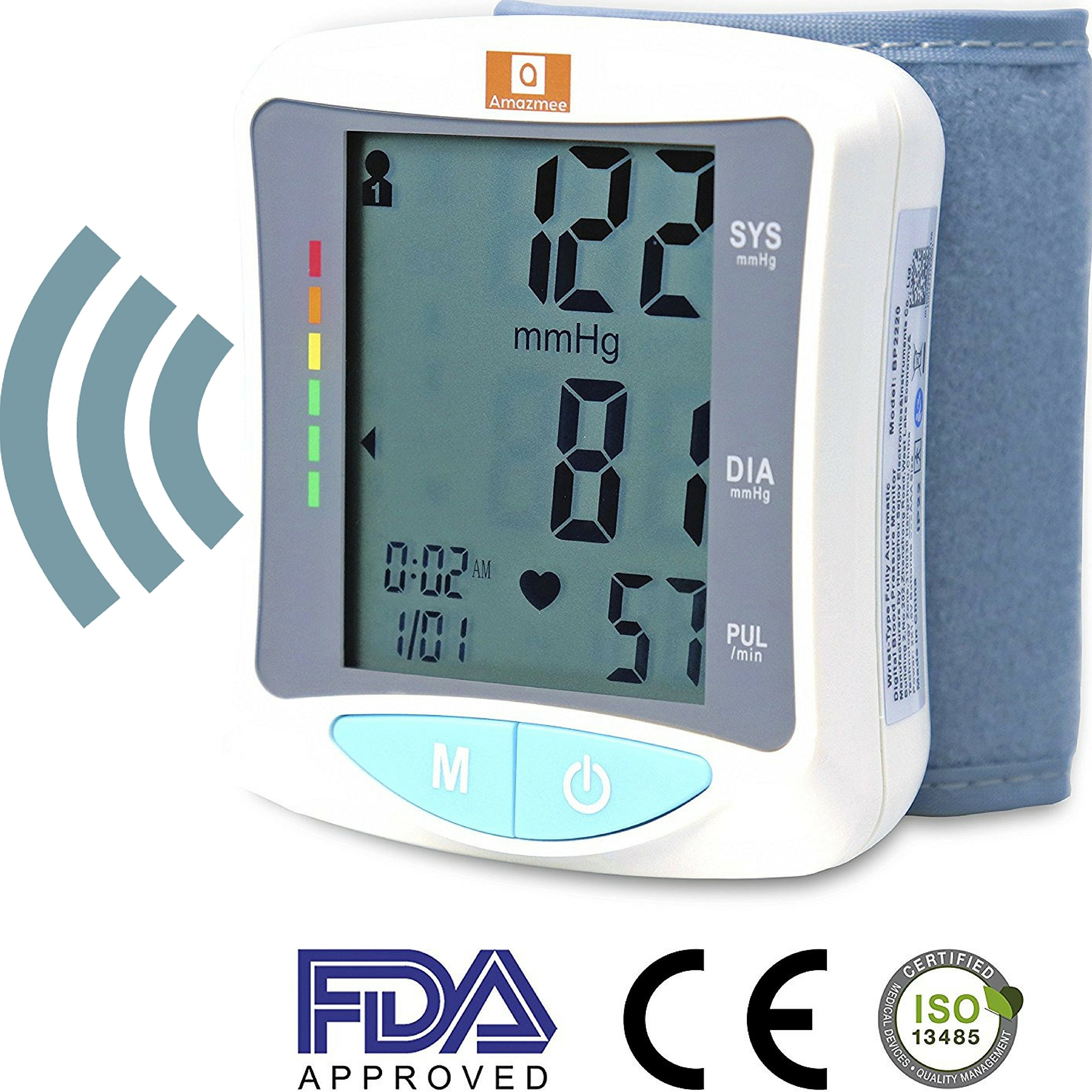 Wrist blood pressure machine FDA approved Large LCD display Fully Digital Voice read out feature Heartbeat detection Two user memory mode 120 readings Portable case large cuff size fits all