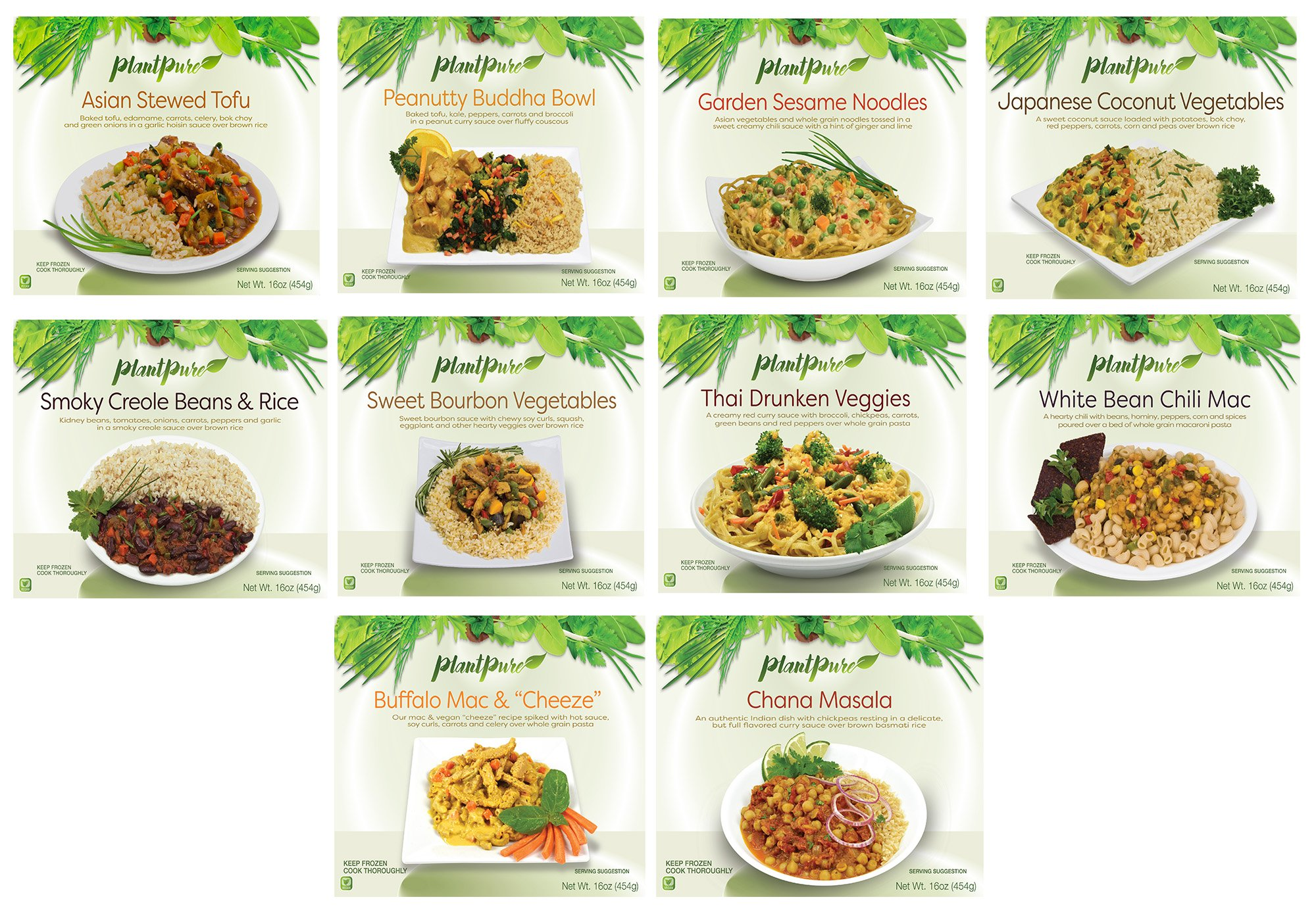 PlantPure International Collection, 10 Frozen Vegan Entrees (ONE OF EACH ENTREE) by PlantPure