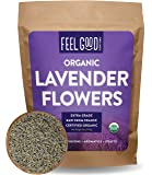 Organic Lavender Flowers (Extra Grade - Dried) - 16oz Resealable Bag (1lb) - 100% Raw From France - by Feel Good Organics