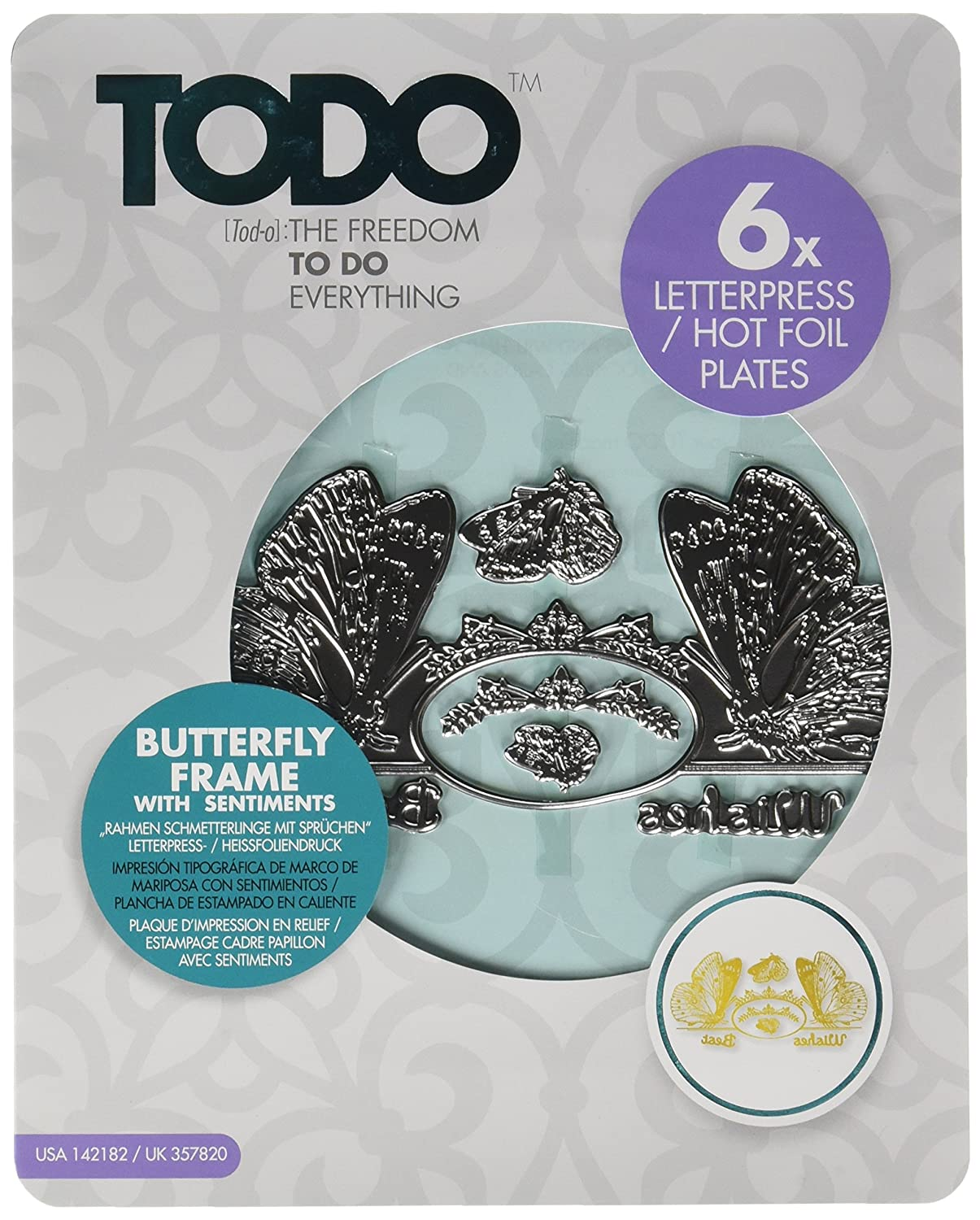 Create and Craft Todo Foil Die Butterfly W/Sentiments And Frame ...