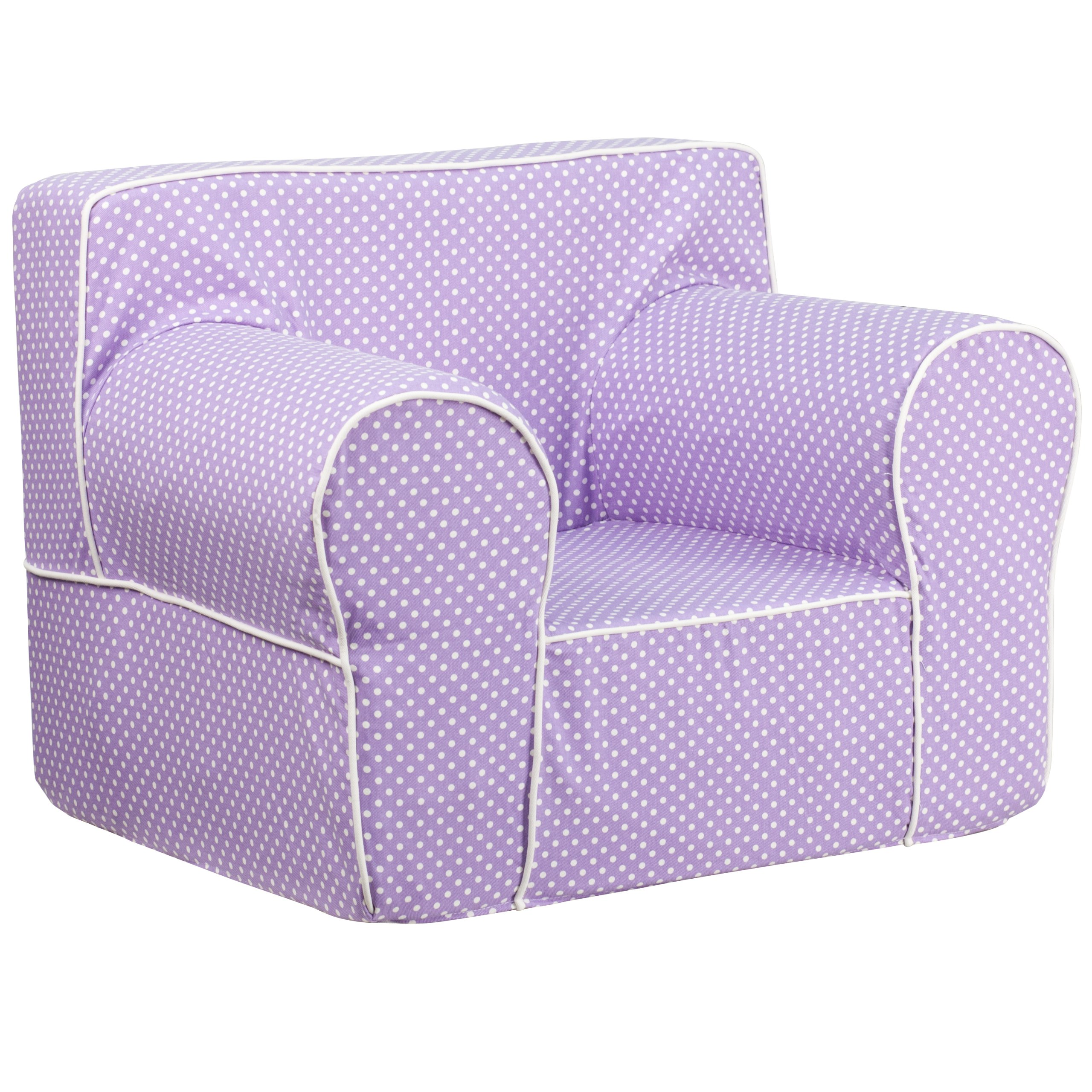 Flash Furniture Oversized Lavender Dot Kids Chair with White Piping by Flash Furniture