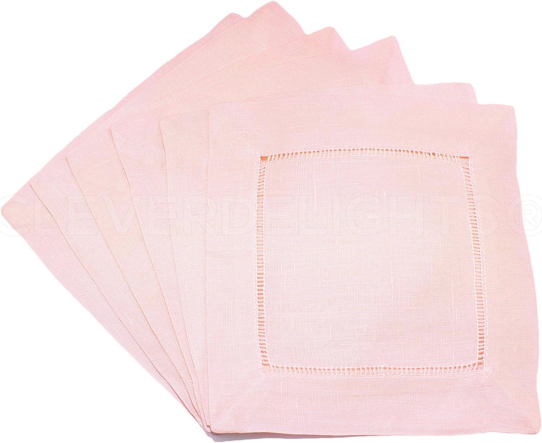 CleverDelights 12 Pack Light Pink Linen Hemstitch Cocktail Napkins - 6
