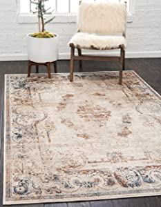 Unique Loom Chateau Distressed Vintage Traditional Textured Area Rug_VIL006, 4 x 6 Feet, Beige/Light Brown