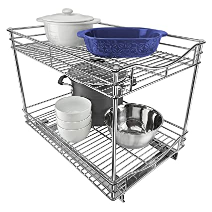 Lynk Professional Double Drawer Pull Out Two Tier Sliding Under Cabinet Organizer 14w X 21d X 16h Inch Chrome