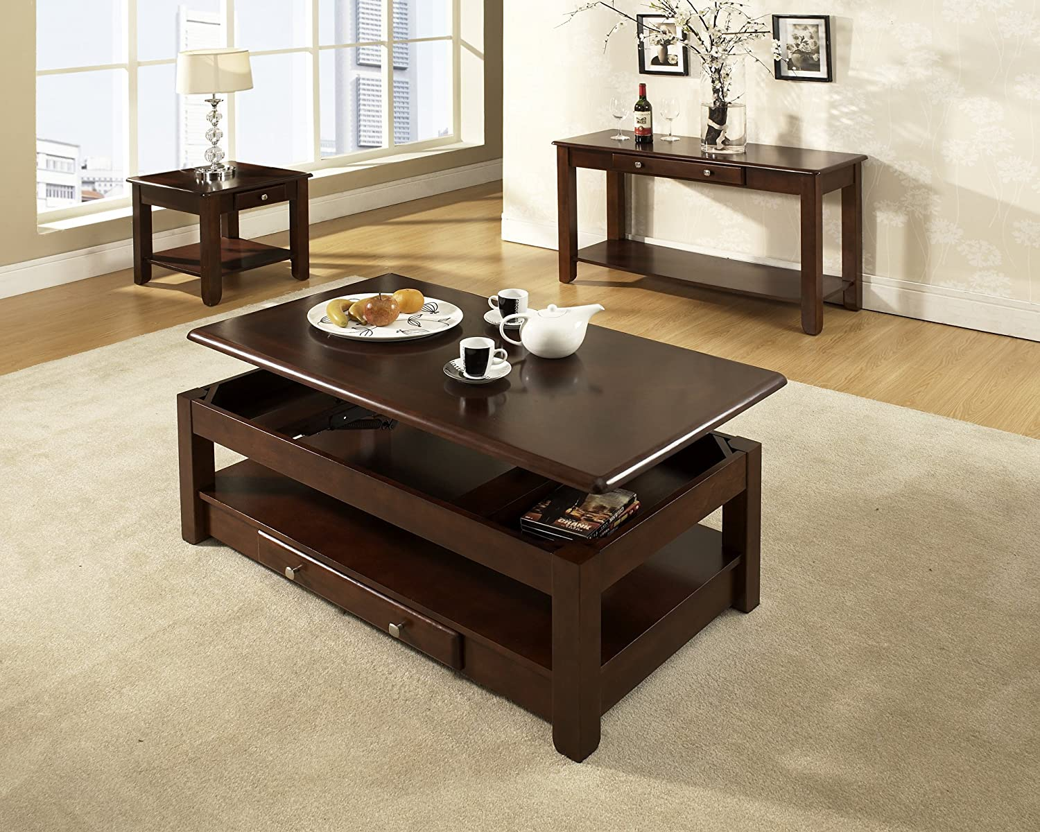 Amazon nelson lift top cocktail table cherry kitchen dining geotapseo Image collections