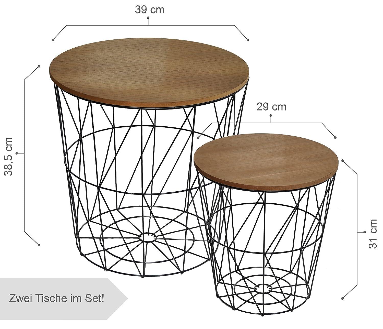CALUTEA Moderne Beistelltische Rund   2er 2er 2er Set Drahtkorb   Metall Schwarz Holz Design Braun 2df94a