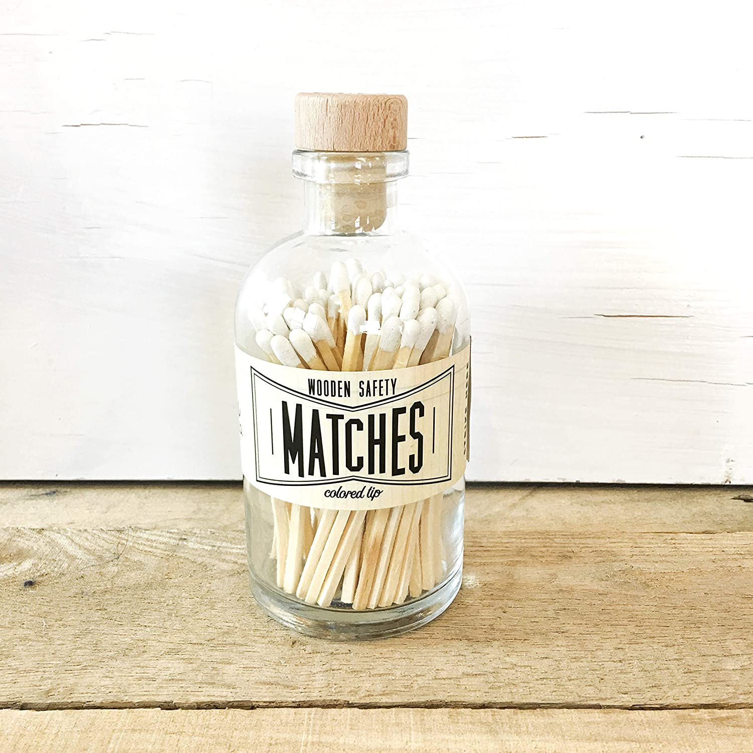 Match Sticks Decorative Glass Bottle Farmhouse Home Decor Best Seller Most Popular Item Coral Tip Colored Matches Unique Gifts for her