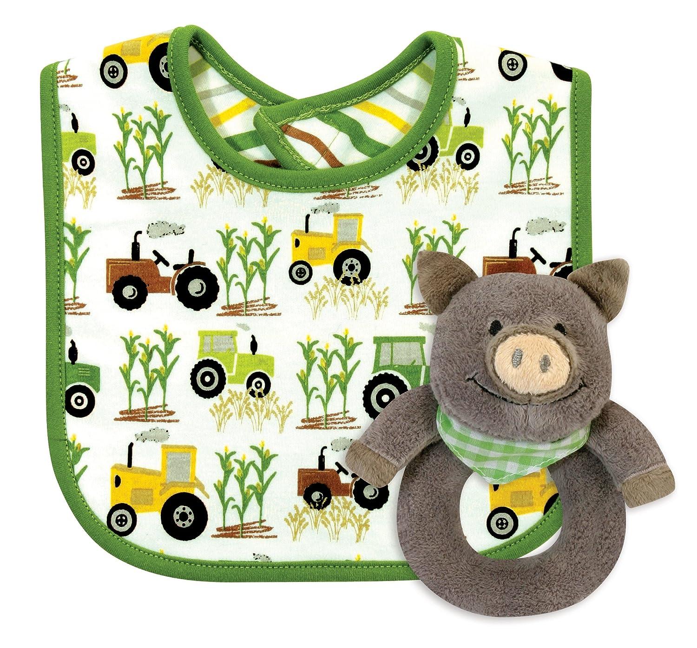 Stephan Baby Down on The Farm Bib and Plush Ring Rattle Gift Set, Pig by Stephan Baby   B01BQLQ4QU