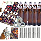 15PACK Esenciales Carrying Case Holds roll on vidrio 5ml 10ml Perfect for Travel Home Stock Include 10 X 1/3 OZ Roll Bottles