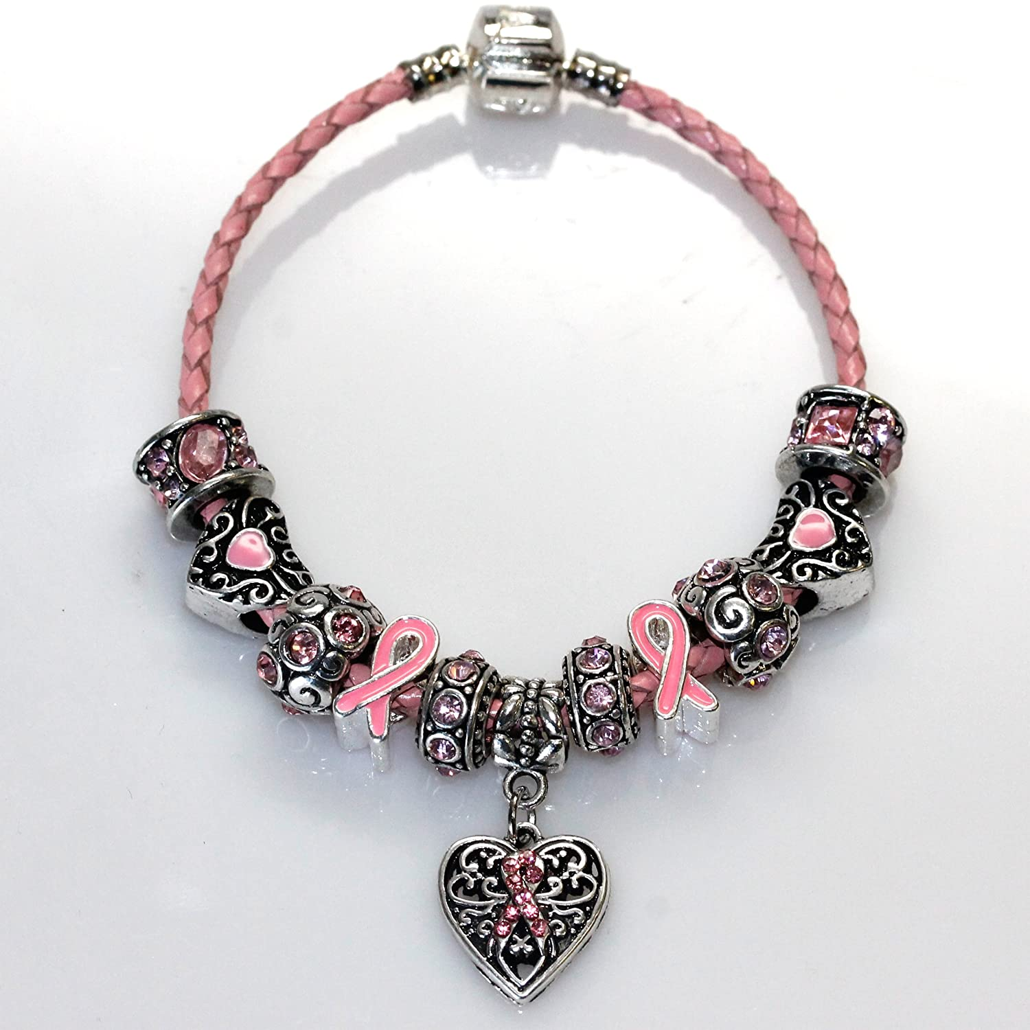 "Amazon Genuine Leather Bracelet Pink ""Breast Cancer Awareness"