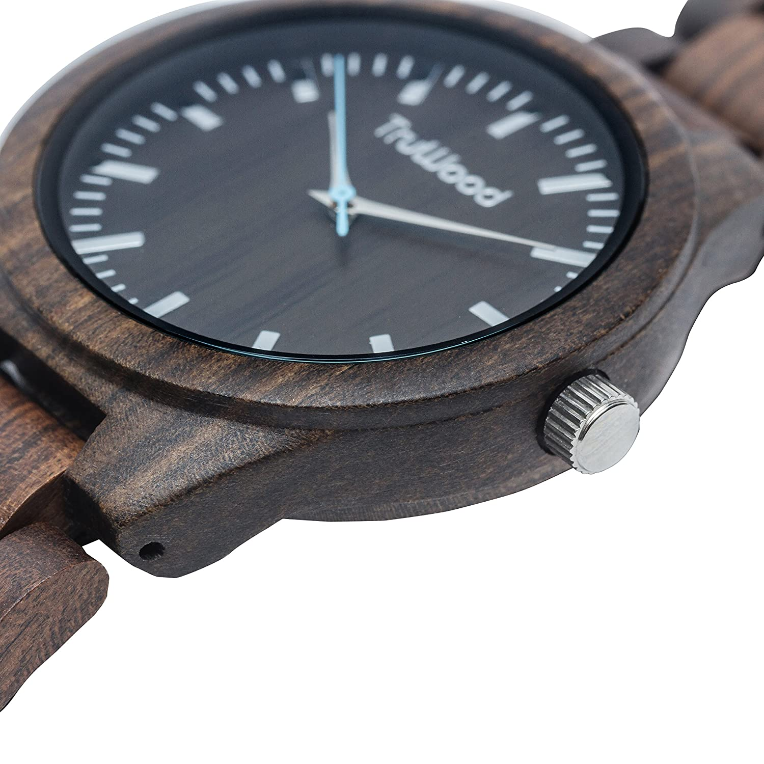 sandalwood watch leaf leather wooden watches truwood com strap amazon with and green black dp