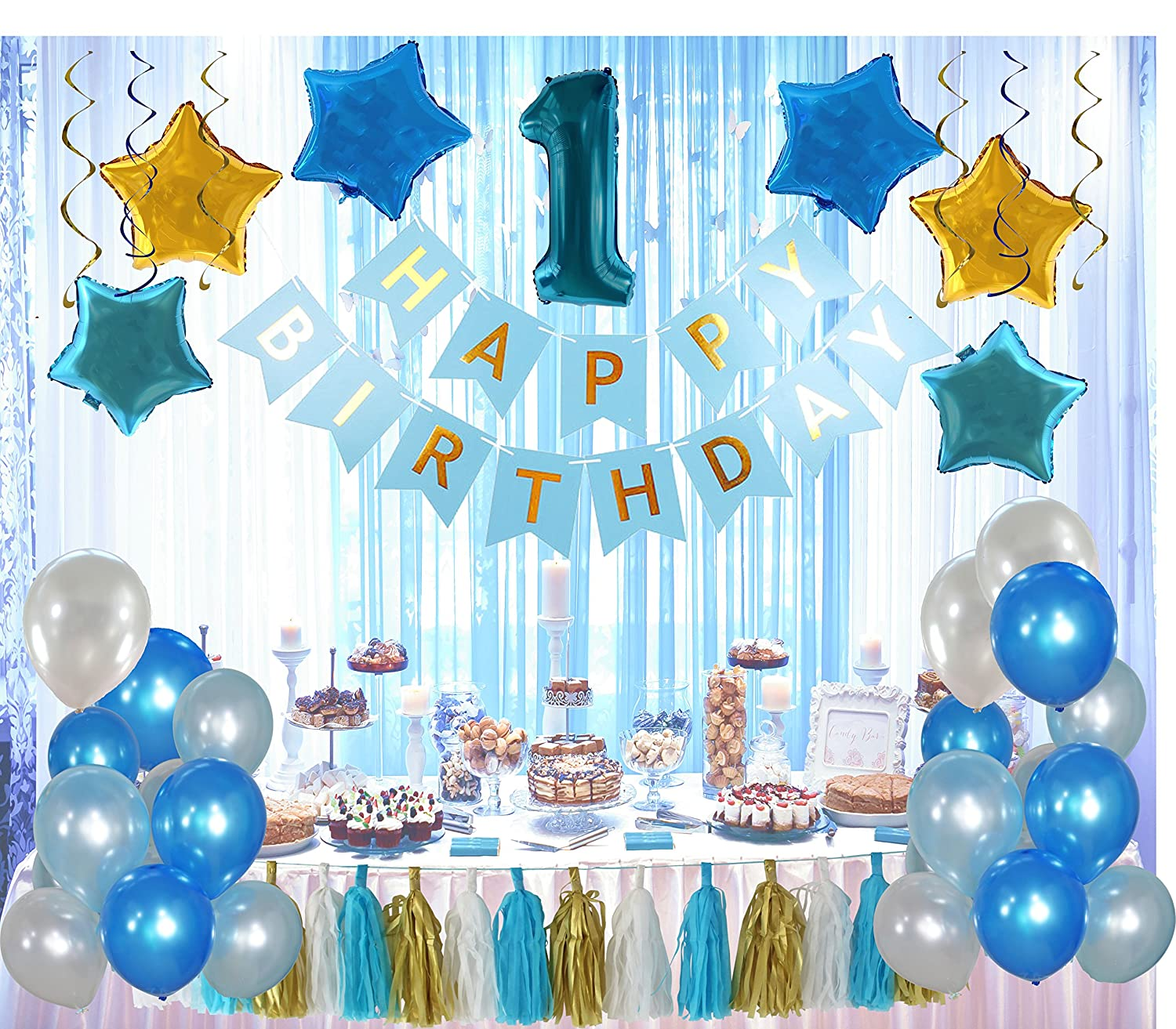 1st Birthday Boy Decorations Kit Complete 60 Pcs Set Party Decoration First Giant Number One Balloon Blue Happy Banner Latex And