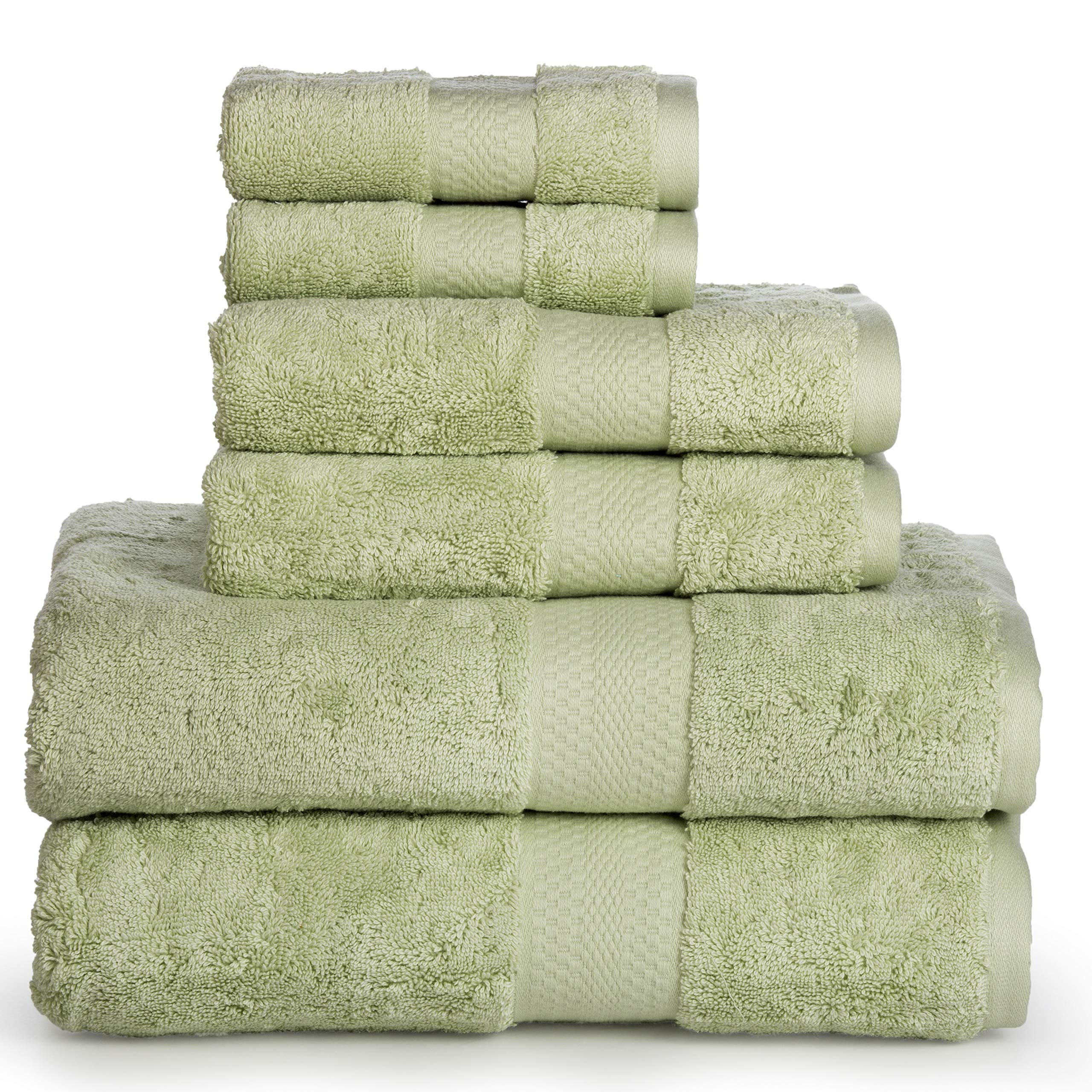 Luxury Cotton Bathroom Bath Towels: 6 Piece Towel Set for Household Bathrooms - Soft Plush and Absorbent Cotton with Double Stitch Hems - Bath / Shower Towels, Hand Towels, and Washcloths - SEA FOAM