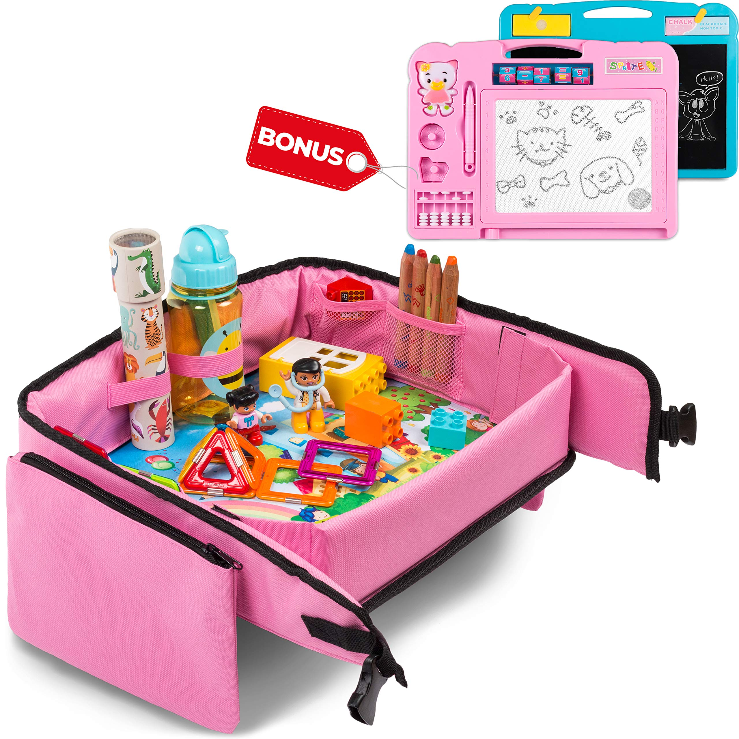 Toddler Travel Tray (Pink) + Bonus 2 in 1 Magnetic Drawing Board & Chalkboard |Car Seat Tray for Kids | Car Seat Travel Trays | Lap Desk, Activity Tray, Stroller Tray, Play Tray