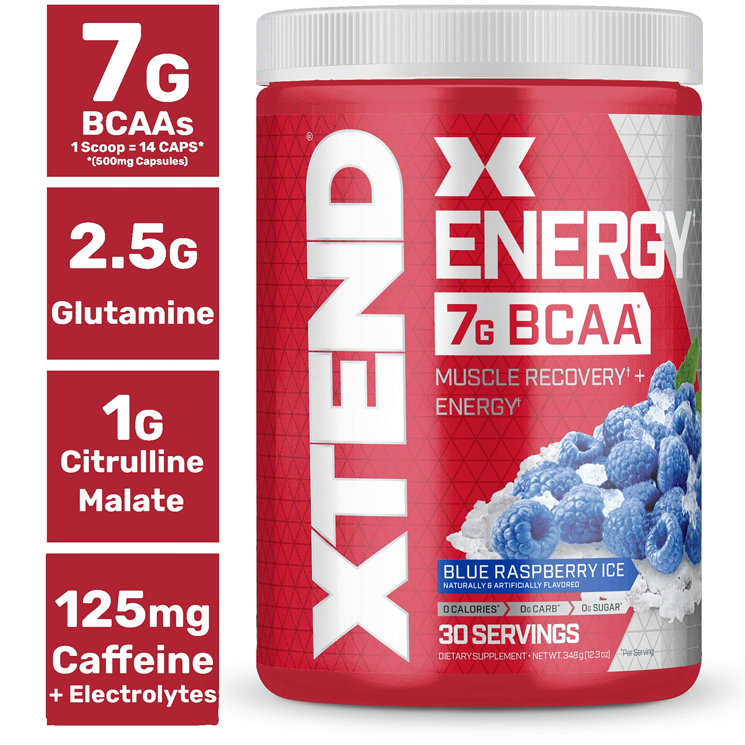 Scivation Xtend Energy BCAA Powder for Pre Workout Or Anytime Energy with Caffeine, Branched Chain Amino Acids, BCAAs, Blue Raspberry, 30 Servings